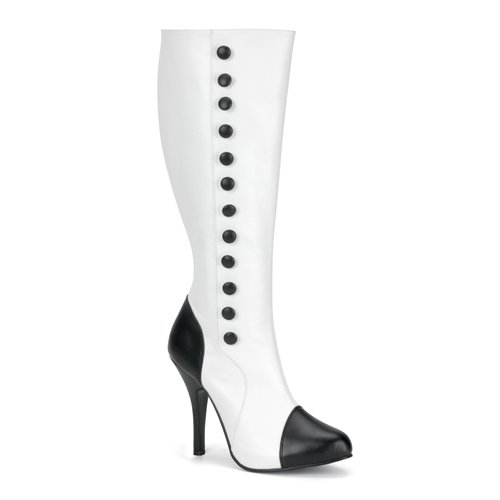 Womens Sexy 4 1/2 Inch High Heel White and Black Knee High Boot Button Accents