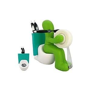 Butt Station Tape Dispenser, Pen & Memo Holder, Paper Clip Storage, Green