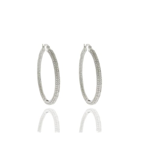 Silver Overlay Diamond Accent Hoop Earrings