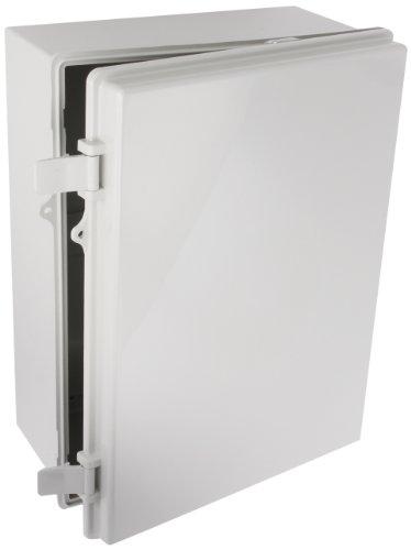 "Bud Industries Nbb-15247 Style B Plastic Outdoor Nema Box With Solid Door, 15-43/64"" Length X 11-23/32"" Width X 6-19/64"" Height, Light Gray Finish"