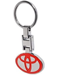 GCT Toyota Logo Metal Keychain / Keyring / Key Ring / Key Chain (Red/Silver)