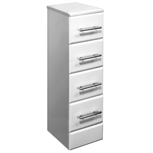 Gloss White Bathroom Furniture Storage 4 Drawer Unit 300(W) x 300(D)