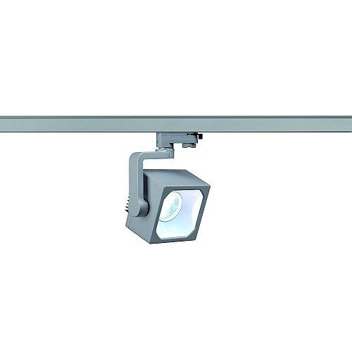 SLV LED 3-Phasen Strahler Euro Cube, 28,5W, 4000K, 30 Grad, inklusiv Adapter, silbergrau 152774