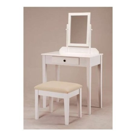 JRS Wood Vanity Set with Stool and Mirror White Finish