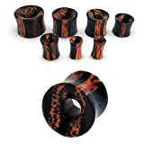00g 10mm Coconut and Arenge Wood Double Flare Flesh Tunnel Earring Ear Expander Ear Stretcher Piercing Body Jewellery Wooden Plug