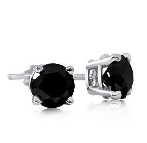 Sterling Silver 1 Carat Black Diamond Stud Earrings