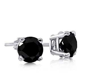 Sterling Silver 1 Carat Black Diamond Stud Earrings