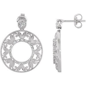 Genuine IceCarats Designer Jewelry Gift Sterling Silver Diamond Earrings. Pair 1/5 Ct Tw Diamond Earrings In Sterling Silver