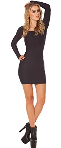 Buy-Box Womens Long Sleeve Slim Package Hip Dress Black Dress Medium Dress