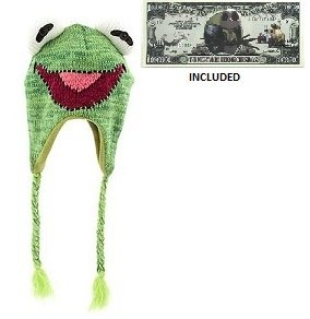 """Disney Parks The Muppets """"Kermit the Frog"""" Knit Beanie - Disney Parks Exclusive & Limited Availability - Non-Monetary Jack Skellington Bill Included"""