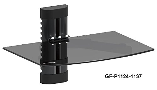 GForce GF-P1124-1137 Wall Mount Shelf For Media Players with Tempered Glass- Holds up to 22 lbs (Glass Shelves Hold compare prices)