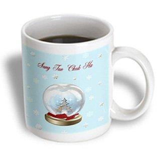 Beverly Turner Christmas Other Languages - Snow Globe Deer, Tree And Snowflakes, Merry Christmas In Korean - 11Oz Mug (Mug_160036_1)