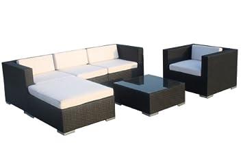 Prime Tech Poly-Rattan Gartenmöbel mit hochwertigen Polstern 'Modell Velada' in schwarz