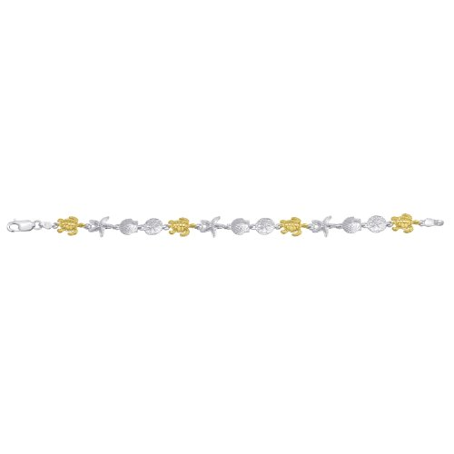 Sterling Silver & 14K Gold Turtle Bracelet