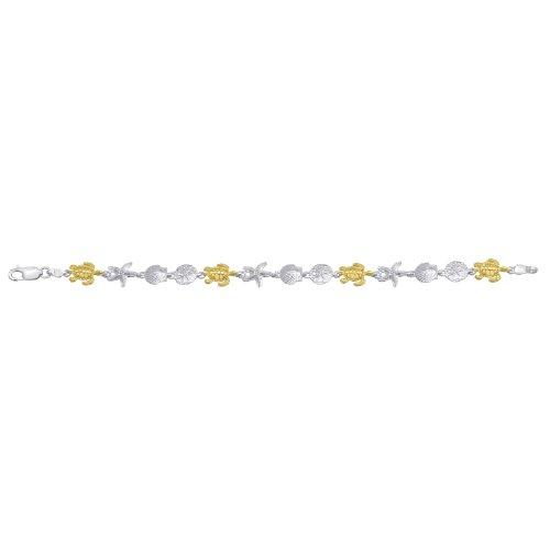 Sterling Silver & 14K Gold Turtle Bracelet