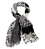 M&S Collection Lightweight Floral & Animal Print Scarf