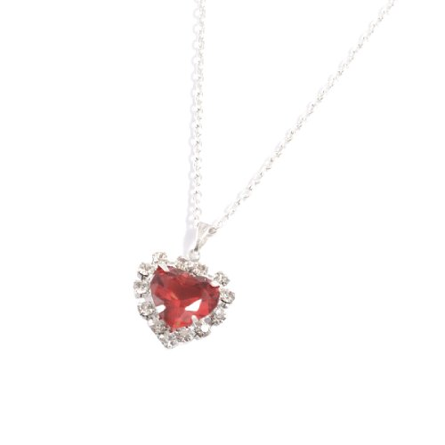 Rosallini Woman Red Faux Heart Shape Crystal Pendant Silver Tone Necklace