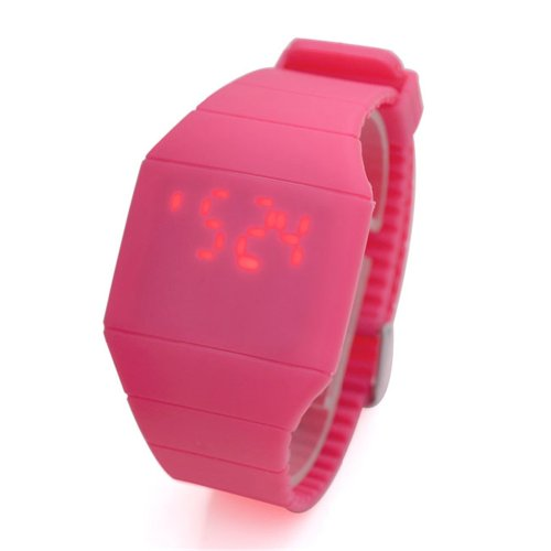 Jovivi Ultra-Thin Unisex Boy And Girl Touch Screen Led Digital Silicone Sport Wrist Watch - Rose