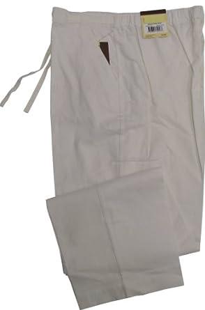 Havanera Mens Relaxed Fit Drawstring Linen Rayon Blend Pants Bright White M