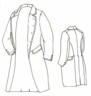 "1858 Single Breasted Frockcoat Pattern - Size Extra Large (52-56"")"