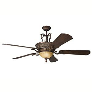 Kichler Lighting 300008BKZ Kimberley 60IN Ceiling Fan, Berkshire Bronze Finish with Solid Wood Blades and Integrated Light Kit