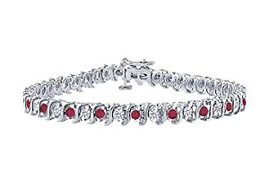 Ruby and Diamond Tennis Bracelet : Platinum - 2.00 CT TGW