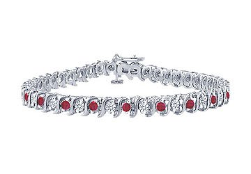 Ruby and Diamond Tennis Bracelet Platinum - 3.00 CT TGW