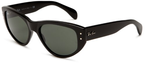 Ray Ban Women's Rb4152 Vagabond Black Frame/Green Lens Plastic Sunglasses