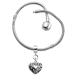 Bracelet for Pandora Beads and charms by GlitZ JewelZ © - Silver plated - available in many sizes 18 to 22 cms