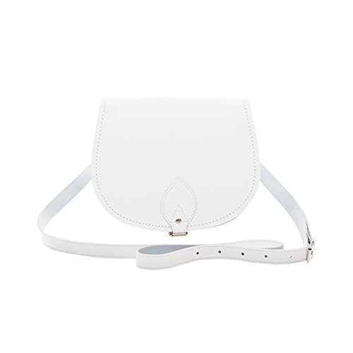 Zatchels - Borsa in Pelle Fatta a Mano - Colori Classici - Saddle Bag British Made - Donna (S) (Bianco)