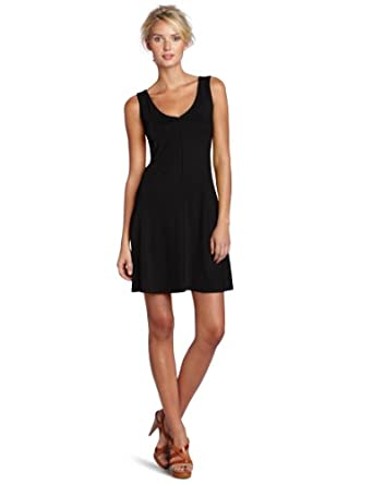 Three Dots Women's Sleeveless V-Neck Dress, Black, Small