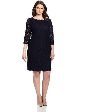 Adrianna Papell Women's Plus-Size Long Sleeve Lace Dress, Navy, 14W