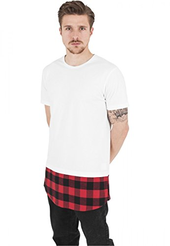 Urban Classics Herren T-Shirt Shaped Flanell Bottom Tee, Wht/Blk/Red, XXL, TB1098-00693-0060