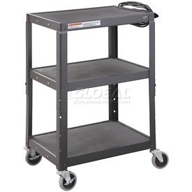 Black Steel Audio Visual & Instrument Cart