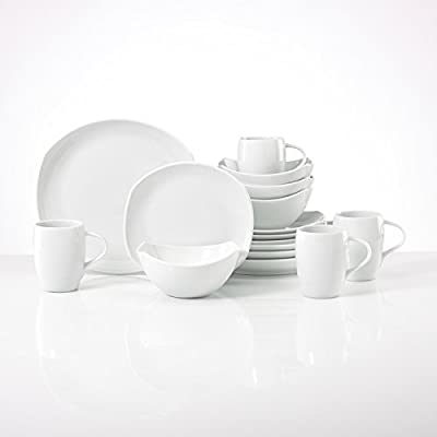 Dansk Classic White Porcelain Fjord 16-Piece Place Setting Dinnerware Sets