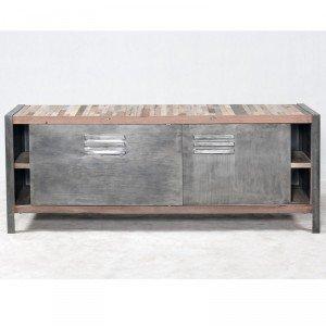 Origin 39 s meubles meuble tv industriel besi fer et bois for Meuble bureau en fer