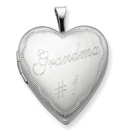 Genuine IceCarats Designer Jewelry Gift Sterling Silver 20Mm #1 Grandma Heart Locket