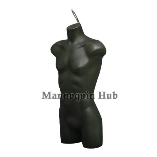 New Male Torso Dress Form Mannequin Display Bust Black Color With Hanging Loop