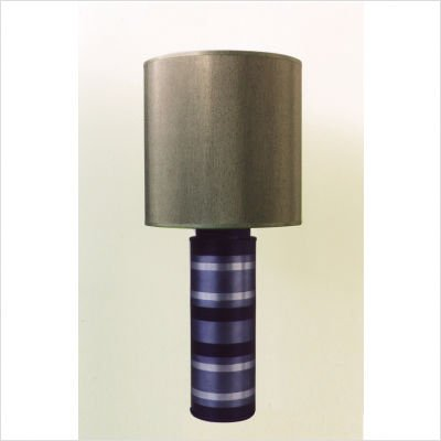 Striped Cylinder Table Lamp in Blue with Driftwood Shade