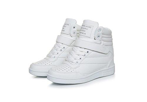 Scarpe Zeppa Sneakers interna Donna lacci alta zeppa Tacco Sportive Scarpe da Ginnastica 7 CM Bianco 35