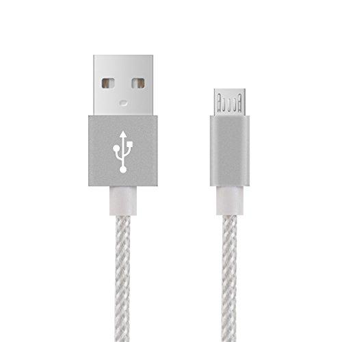 kwmobile Nylon Cavetto per ricarica micro USB per Samsung Galaxy S6 / S6 Edge / S5 / S4, Sony Xperia Z2 / Z3 / Z4, LG G2 / G3 / G4 - 1 m Bianco