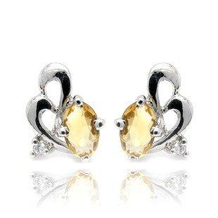 5*3mm Natural Gem luxury Citrine 925 Sterling Silver Earring stud Gift 002