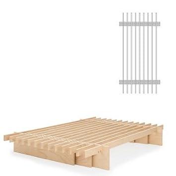 TOJO Parallel Bett 100 x 200 cm, Multiplex Buche natur