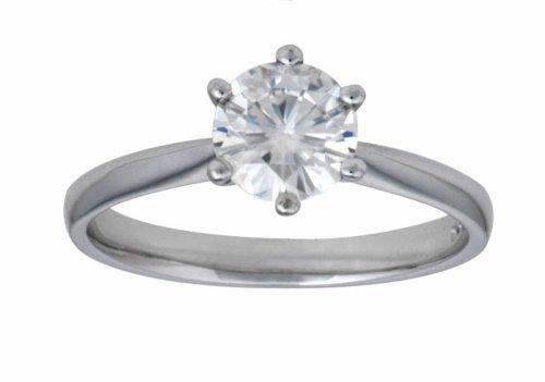 18ct White Gold 6.0mm (3/4ct Equivelent) Moissanite Single Stone Ring - Size J