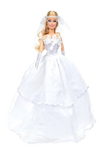 Banana Kong Doll's Pure White Wedding Gown Dress + Veil + Gloves - 1