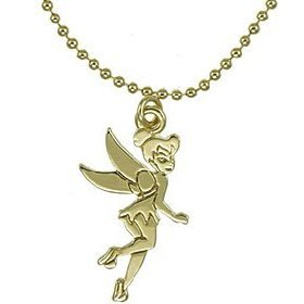 Amazon.com: Disney Couture Flying Tinkerbell Silhouette Necklace (Gold