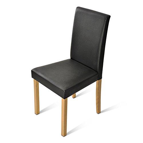 SAM-Sparset-4-x-Polster-Stuhl-Billi-Esszimmer-Stuhl-mit-schwarzem-Lederimitat-massive-Holzbeine-in-Buche-Design-Stuhl-fr-Kche-und-Esszimmer