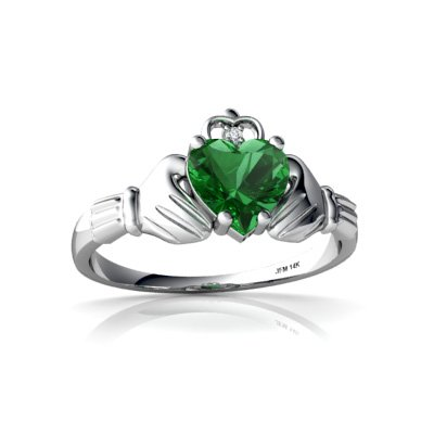 Created Emerald 14ct White Gold Celtic Claddagh Ring