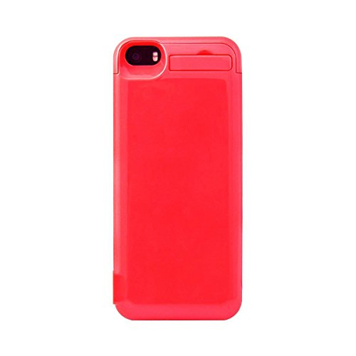 4200Mah Extended Battery Case Back Up Power Bank For Iphone 5 / 5S Back Up, Lightning Charging Port, Kick Stand, Slim Fit Slider Design, Full Body Protection, On/Off Switch Led Battery Level Indicator (Rose Red)