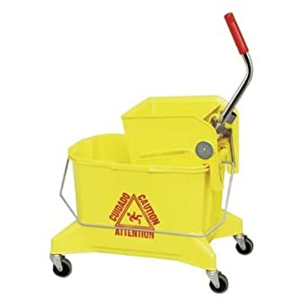"Continental 266-36YW, Yellow Smoothline Combo Pack Bucket with 3"" Grey Non-Marking Casters and SW6 Squeeze-Type Wringer, 26 quart Capacity (Case of 1)"